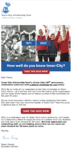 Inner-City Scholarship Fund Cultivation Email