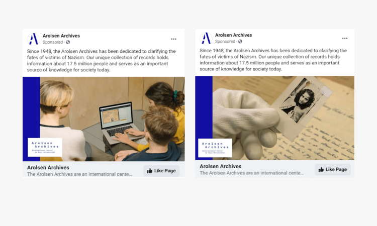 Arolsen Archives Brand Awareness Advertising Campaign on Facebook Faircom New york