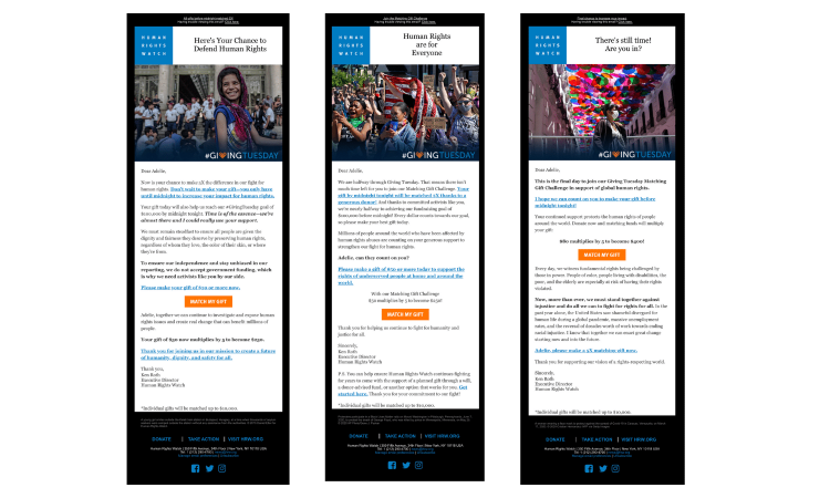 Human Rights Watch Giving Tuesday 2020 Emails