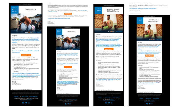 Human Rights Watch Giving Tuesday 2020 Faircom New York Emails