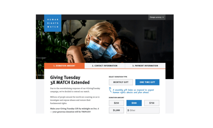 Human Rights Watch Giving Tuesday 2020 Faircom New York Donation Page